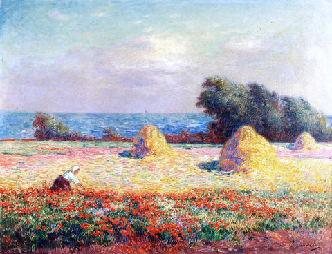 Ferdinand Du Puigaudeau Stacks of Hay and Field of Poppies - Hand Painted Oil Painting