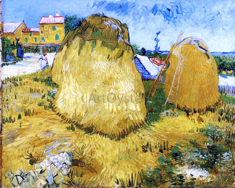 Vincent Van Gogh A Stack of Wheat near a Farmhouse - Hand Painted Oil Painting