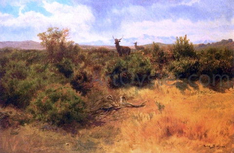 Rosa Bonheur Stag and Doe in a Landscape - Hand Painted Oil Painting