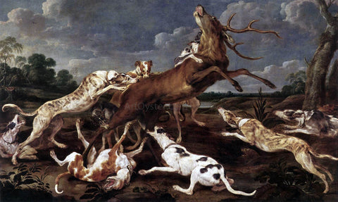 Paul De Vos Stag Hunt - Hand Painted Oil Painting
