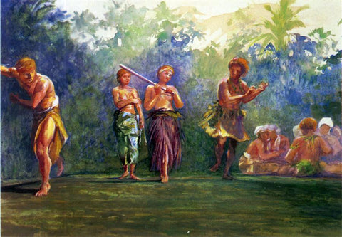 John La Farge Standing Dance, Standing Figures (also known as Standing Dance Representing a Game of Ball) - Hand Painted Oil Painting