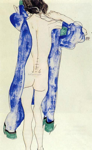 Egon Schiele Standing Female Nude in a Blue Robe - Hand Painted Oil Painting