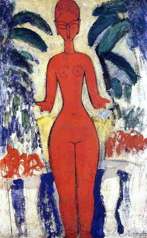 Amedeo Modigliani Standing Nude with Garden Background - Hand Painted Oil Painting