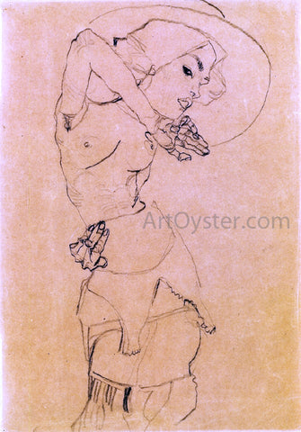 Egon Schiele Standing Nude with Large Hat (Gertrude Schiele) - Hand Painted Oil Painting
