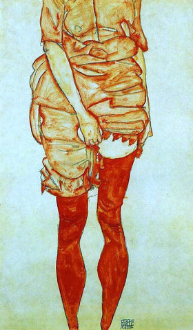 Egon Schiele Standing Woman in Red - Hand Painted Oil Painting