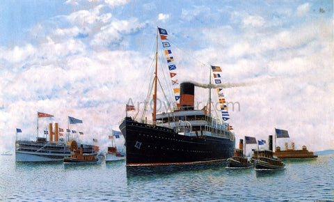 Antonio Jacobsen Steamship OSCAR II Entering New York Harbor - Hand Painted Oil Painting
