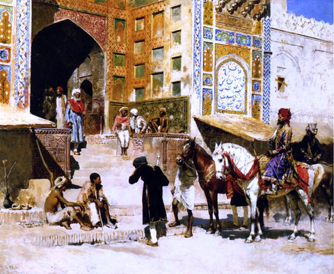 Edwin Lord Weeks Steps of the Mosque Vazirkham, Lahore - Hand Painted Oil Painting