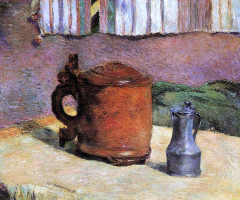 Paul Gauguin Still, Clay Jug and Iron Mug - Hand Painted Oil Painting