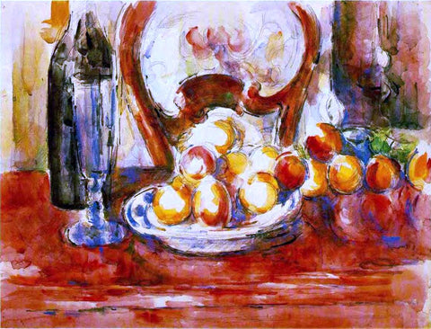 Paul Cezanne Still Life - Apples, a Bottle and Chairback - Hand Painted Oil Painting