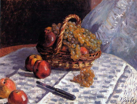 Alfred Sisley Still Life - Apples and Grapes - Hand Painted Oil Painting