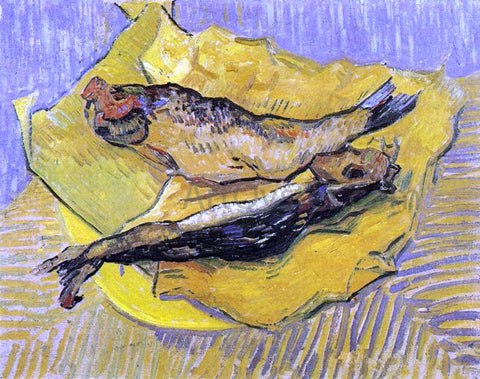 Vincent Van Gogh Still Life: Bloaters on a Piece of Yellow Paper - Hand Painted Oil Painting