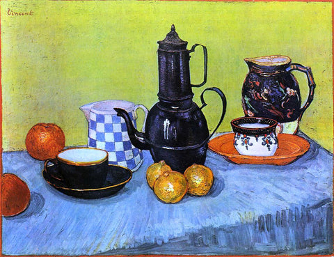 Vincent Van Gogh Still Life: Blue Enamel Coffeepot, Earthenware and Fruit - Hand Painted Oil Painting