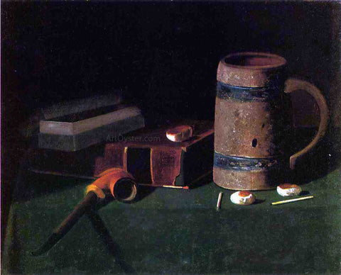 John Frederick Peto Still Life: Book and Mug - Hand Painted Oil Painting