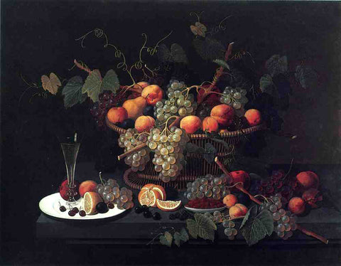 Severin Roesen Still Life: Champagne and Fruit - Hand Painted Oil Painting