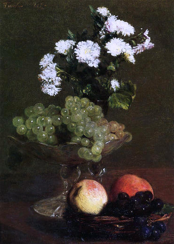 Henri Fantin-Latour Still Life: Chrysanthemums and Grapes - Hand Painted Oil Painting