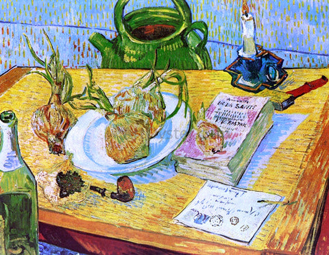 Vincent Van Gogh Still Life: Drawing Board, Pipe, Onions and Sealing Wax - Hand Painted Oil Painting