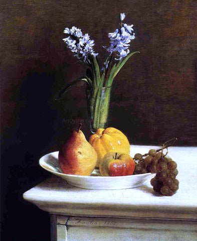 Henri Fantin-Latour Still Life: Hyacinths and Fruit - Hand Painted Oil Painting