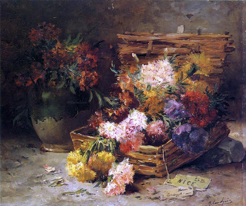 Eugene Henri Cauchois Still Life of Flowers in a Vase and a Basket - Hand Painted Oil Painting