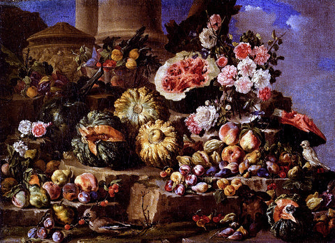 Michele Pace Del Campidoglio Still Life Of Fruit And Flowers On A Stone Ledge With Birds And A Monkey - Hand Painted Oil Painting