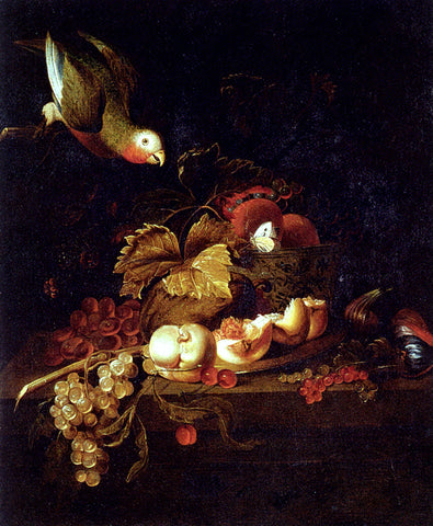 Jakob Bogdany Still Life Of Grapes, A Halved Peach And Cherries Resting On A Table With A Parrot - Hand Painted Oil Painting