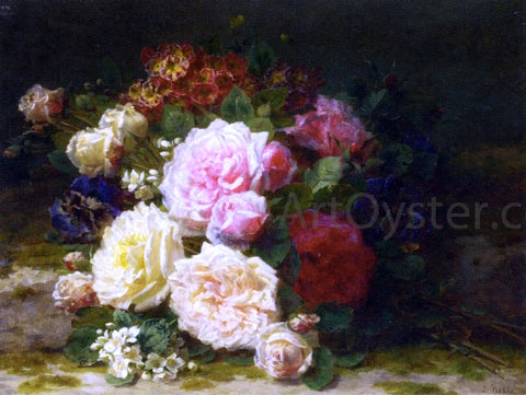 Jean Baptiste Robie Still LIfe of Roses - Hand Painted Oil Painting