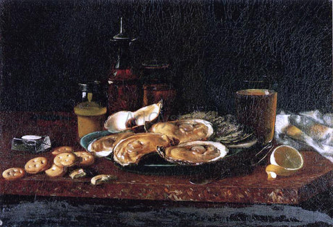 Andrew H. Way Still Life: Oysters on the Half Shell - Hand Painted Oil Painting
