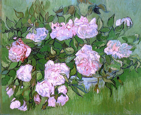 Vincent Van Gogh Still Life: Pink Roses - Hand Painted Oil Painting
