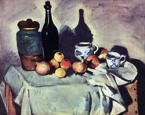 Paul Cezanne Still Life - Post, Bottle, Cup and Fruit - Hand Painted Oil Painting