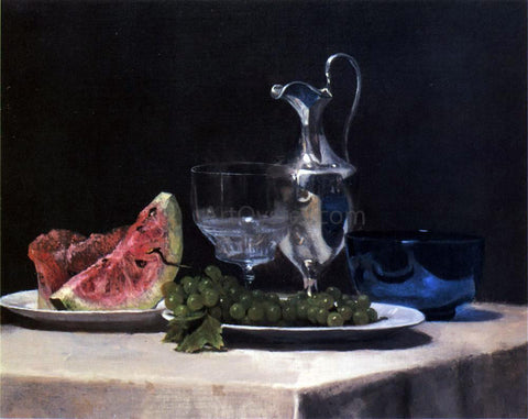 John La Farge Still Life, Study of Silver, Glass and Fruit - Hand Painted Oil Painting
