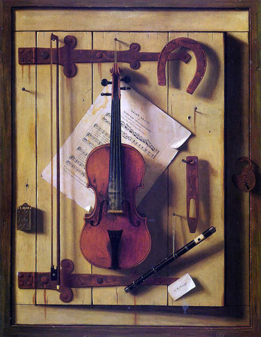 William Michael Harnett Still Life: Violin and Music (also known as Music Literature) - Hand Painted Oil Painting