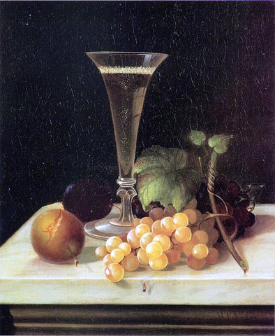 Morston Ream Still Life Wine Glass and Fruit - Hand Painted Oil Painting