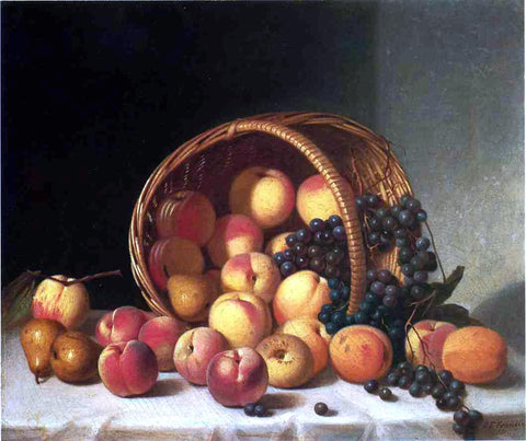 John F Francis Still Life with a Basket of Fruit - Hand Painted Oil Painting