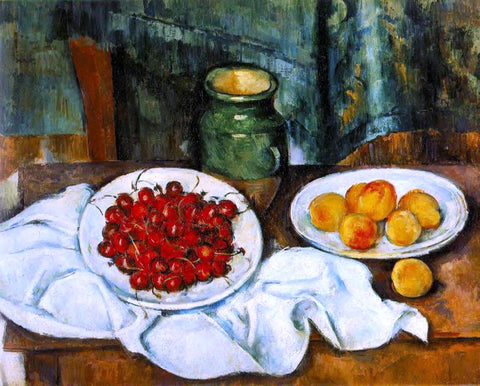 Paul Cezanne Still Life with a Plate of Cherries (also known as Cherries and Peaches) - Hand Painted Oil Painting