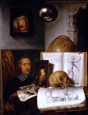 Simon Luttichuijs Still Life with a Skull - Hand Painted Oil Painting