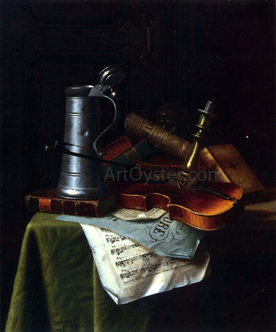 William Michael Harnett Still Life with a Violin, Pewter Tankard and Sheet Music - Hand Painted Oil Painting