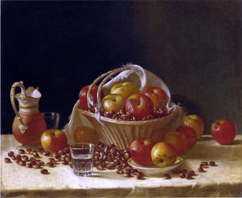 John F Francis Still Life with Apples, a Basket and Chestnuts - Hand Painted Oil Painting