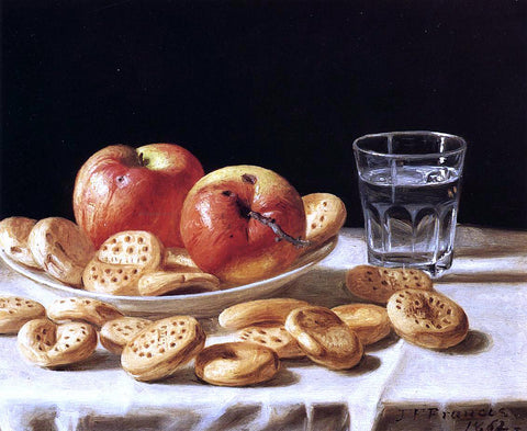 John F Francis Still Life with Apples and Biscuits - Hand Painted Oil Painting