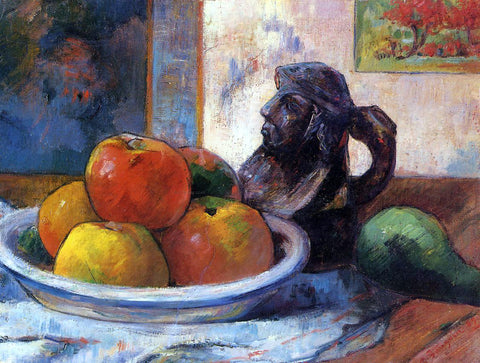 Paul Gauguin Still Life with Apples, Pear and Ceramic Portrait Jug - Hand Painted Oil Painting