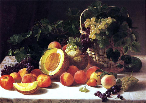 George Hetzel Still Life with Basket of Grapes - Hand Painted Oil Painting