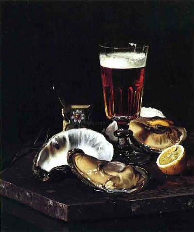 Andrew H. Way Still Life with Beer and Oysters - Hand Painted Oil Painting