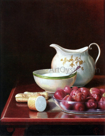 George Cope Still Life with Berries, Sugar and Cream Pitcher - Hand Painted Oil Painting