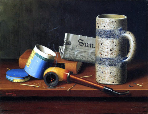 William Michael Harnett Still Life with Blue Tobacco Box - Hand Painted Oil Painting