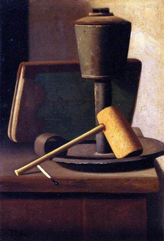 John Frederick Peto Still Life with Book, Lamp, Pipe and Match - Hand Painted Oil Painting