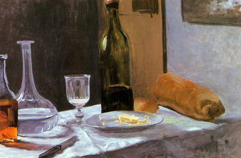 Claude Oscar Monet Still Life with Bottle, Carafe, Bread and Wine - Hand Painted Oil Painting