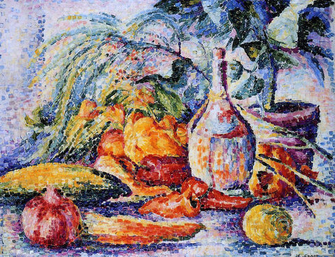 Henri Edmond Cross Still Life with Bottle of Wind - Hand Painted Oil Painting