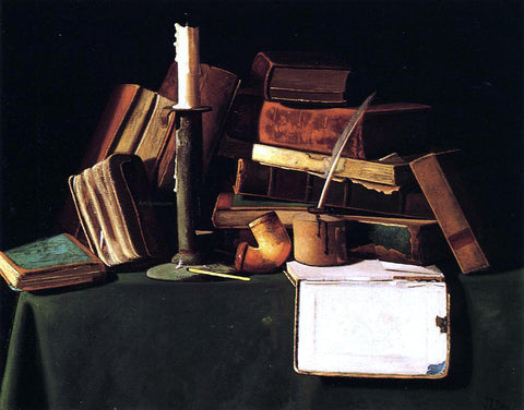 John Frederick Peto Still Life with Candle, Pipe and Books - Hand Painted Oil Painting