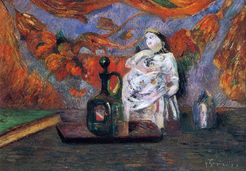 Paul Gauguin Still Life with Carafe and Ceramic Figure - Hand Painted Oil Painting