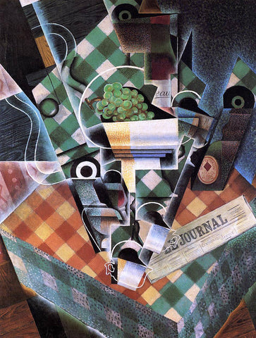 Juan Gris Still Life with Checked Tablecloth - Hand Painted Oil Painting