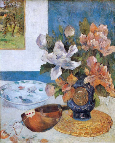 Paul Gauguin Still Life with Chinese Peonies and Mandolin - Hand Painted Oil Painting