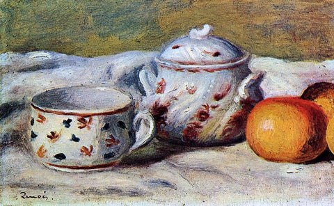 Pierre Auguste Renoir Still Life with Cup and Sugar Bowl - Hand Painted Oil Painting